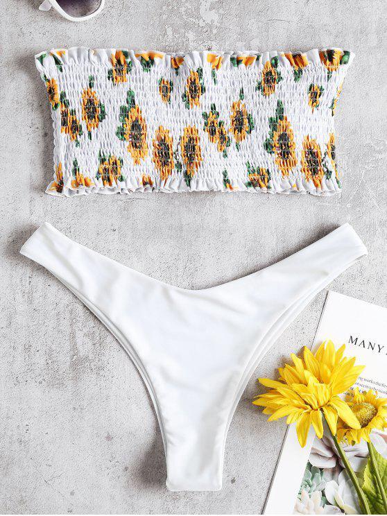Bikini Perizoma Con Stampa Di Girasole - Bianca L