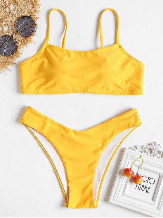 latest Padding High Leg Bikini Set - RUBBER DUCKY YELLOW L