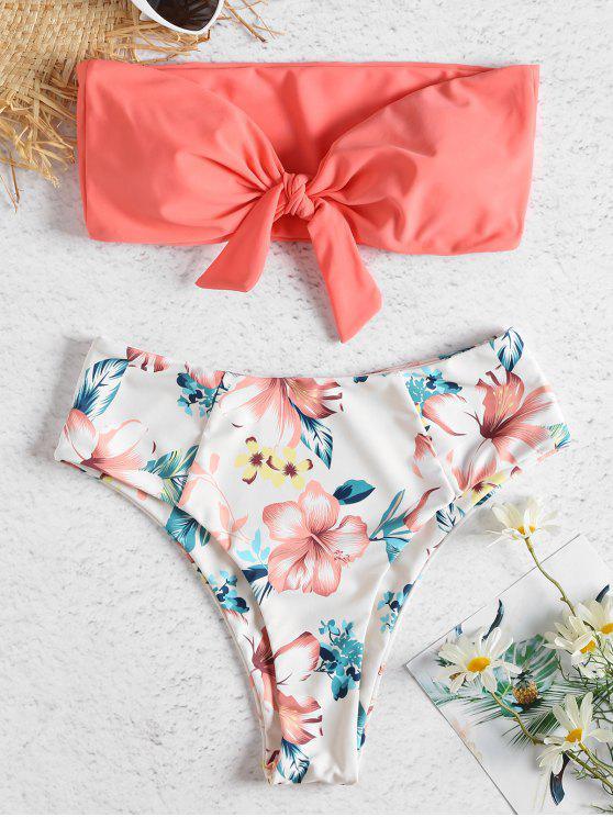 buy Bandeau High Waisted Floral Bikini - WATERMELON PINK S