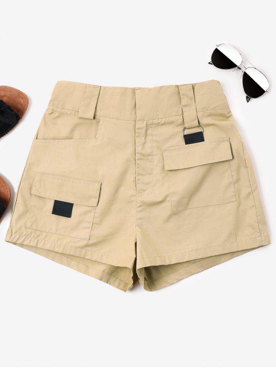 women's High Waist Pockets Shorts - LIGHT KHAKI M