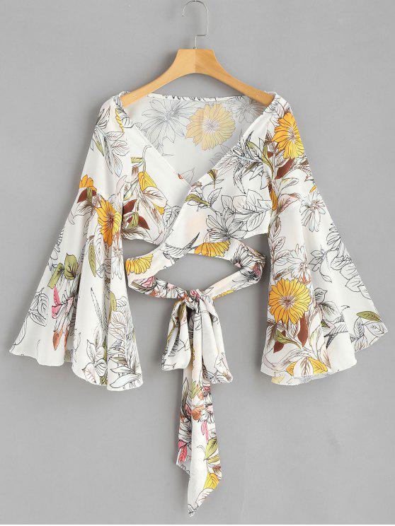 Blusa de la envoltura floral de manga flare - Blanco S