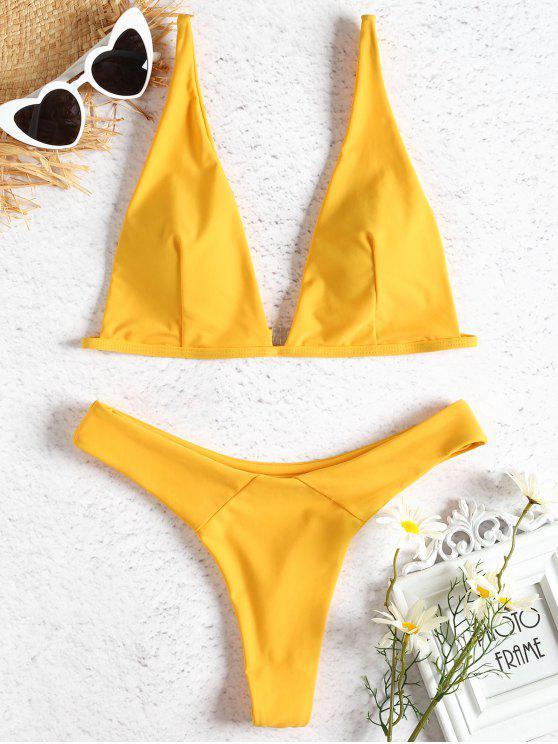 Plunge Ausschnitt Thong Bikini Set - Helles Gelb S