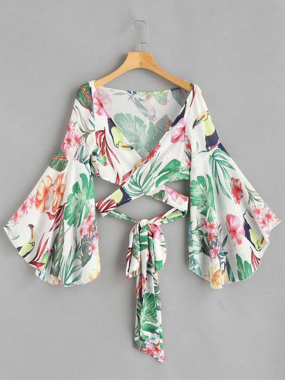 online Flare Sleeve Floral Wrap Blouse - GREEN S