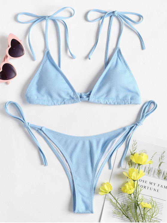 Riemchen Schulter String Bikini - Helles Himmelblau L