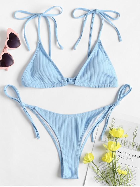 Bikini de Tirantes en Forma de Hombro con Lazo - Celeste Ligero L