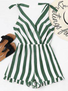 Striped Ruffle Hem Romper - Bosque Verde Mediana Xl