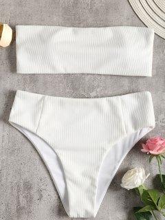 Trägerloses Geripptes Hoher Schlitz Bikini Set - Weiß M