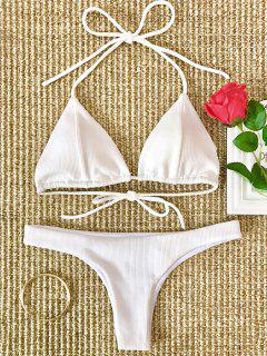 Halter Gerippter Bikini Mit Hohem Beinausschnitt - Weiß L