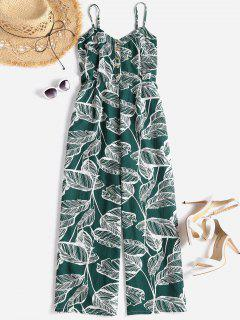 Smocked Tropical Wide Leg Jumpsuit - Medium Sea Green L