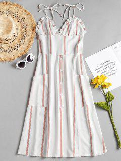 Stripes Ruffles Cami Dress - White S