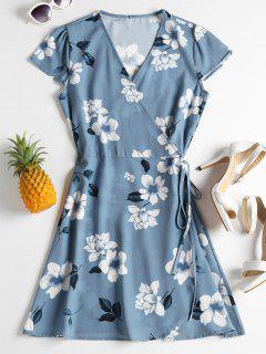 Mini-robe Portefeuille à Imprimé Floral - Bleu Bébé M