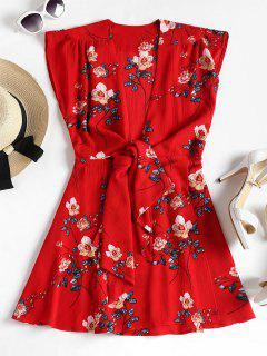 Floral Print Tie Front Dress - Love Red M