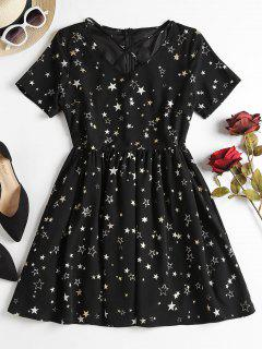 Star Print Criss Cross Dress - Black S