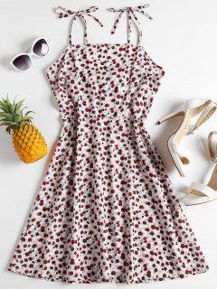 Floral Print Tied Cami Dress - Sakura Pink L