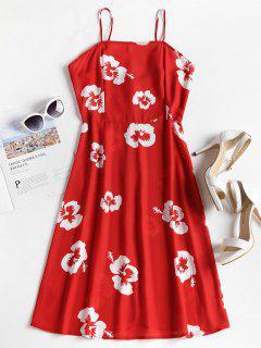 Floral Print Spaghetti Strap Dress - Love Red M