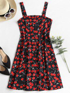 Cherry Print Button Up Dress - Black L