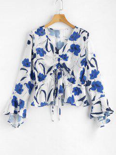 Blumen Druck Cinched Bluse - Weiß M