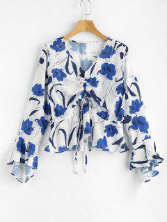 Blumen Druck Cinched Bluse - Weiß L