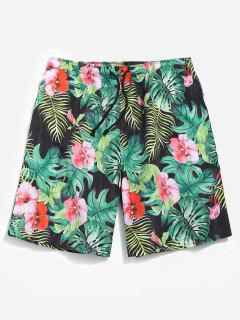 Casual Jungle Flower Shorts - Light Sea Green Xs