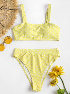 Heart Print High Waisted Bikini Set - Yellow M