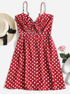 Button Up Polka Dot Mini Dress - Cherry Red M