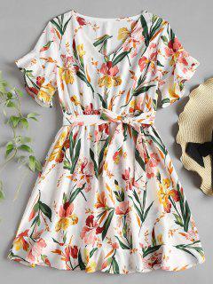 V Neck Ruffle Floral Print Tea Dress - White S