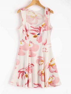 Robe Patineuse Sans Manches à à Motif Floral  - Blanc Xl