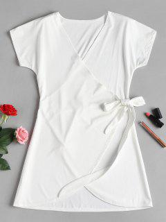 Wrap Tie Mini Dress - White M