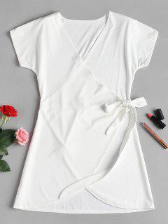 Wrap Tie Mini Dress - White L