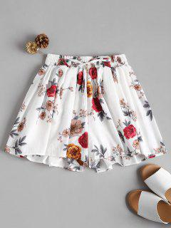 Flowy Floral High Waisted Shorts - White