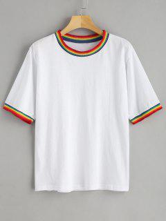 Camiseta Arco Iris Retro Ringer - Blanco