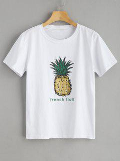 Pineapple Bead Embellished Graphic Tee - White