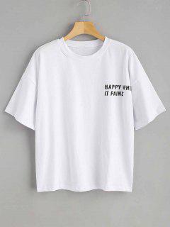 Slogan Print Graphic Oversized T-Shirt - White L