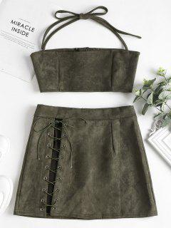 Faux Suede Halter Top Skirt Two Piece Set - Army Green L