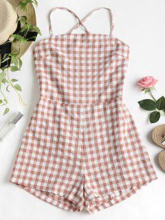 Cami Gingham Lace Up Romper - Khaki Rose M