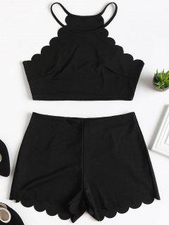 Cropped Scalloped Top And Shorts Set - Black M