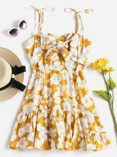 Vestido Cami De Estampado De Flores Anudadas - Marrón Dorado L