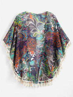 Tassels Printed Cape Blouse - Multi