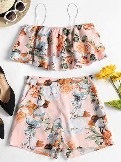 Cami Floral Top And Shorts Two Piece Set - Pink Bubblegum L