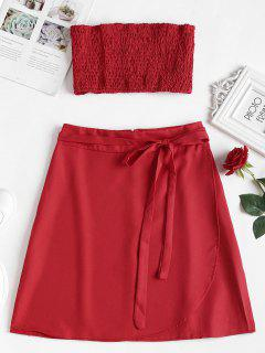 Smocked Tube Top And Skirt Two Piece Set - Love Red M