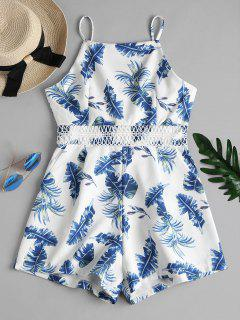 Side Pockets Tropical Print Cami Playsuit - White L