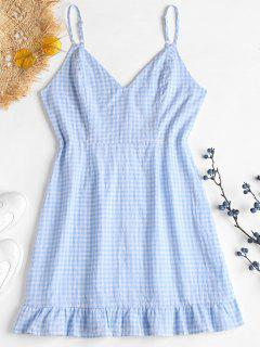 Ruffles Gingham Cami Dress - Pastel Blue L