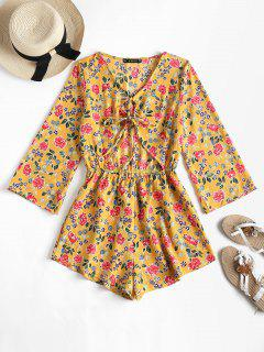 Cut Out Knot Floral Romper - Golden Brown M