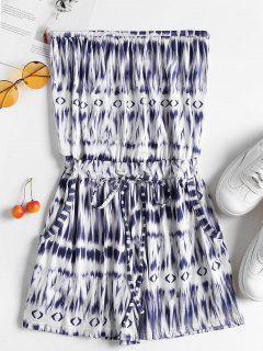 Drawstring Pockets Tie Dye Strapless Romper - Blue S