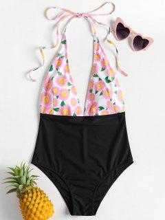 Daisy Floral Backless Low Cut Swimsuit - Pink Daisy S