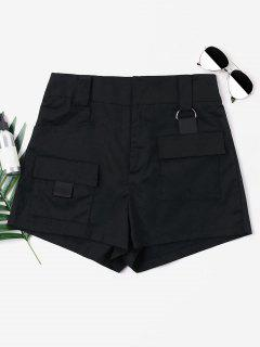 High Waist Pockets Shorts - Black M