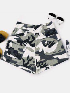 Camouflage Shorts Mit Hoher Taille - Wald Tarnanstrich M