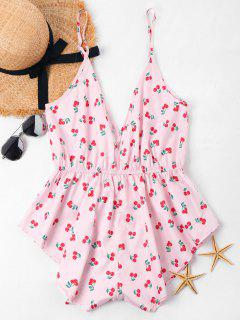 Tropical Print Deep Cut Romper - Pig Pink M
