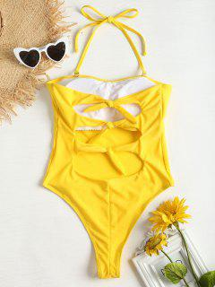 Tie Back High Cut Swimsuit - Corn Yellow M
