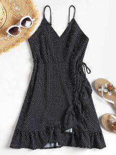 Ruffles Polka Dot Wrap Dress - Black M
